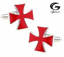 Для мужчин подарок крест запонки оптовая и розничная цвета — красный, синий, черный Цвет вариант Медь Материал Новинка война Креста Дизайн igame 32482660392
