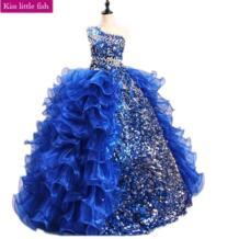 Бесплатная доставка, синее длинное платье с цветочным рисунком на одно плечо для девочек, Robe fille enfant mariage de soiree, пышные платья для девочек Kiss little fish 32860043906