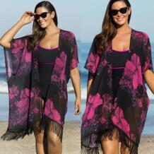 Плюс размеры для женщин печати кисточкой купальник Пляжная накидка лето солнцезащитный крем кардиган блузка рубашка ванный комплект купальники SWIMMART 32800376023