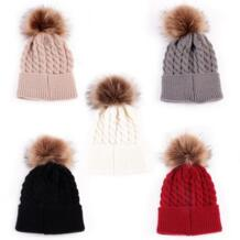 Высокое качество, 1 шт., модная Милая зимняя теплая вязаная шапка для новорожденных детей, вязаные шапки для мальчиков и девочек, шерстяные меховые шапки с помпонами No name 32746432794