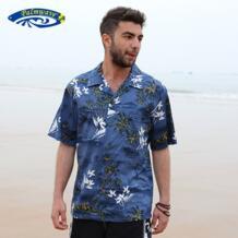 2019 брендовая Новая летняя мужская Гавайская пляжная рубашка мужская американский размер с коротким рукавом Свободная хлопковая повседневная мужская рубашка навыпуск с ярким рисунком A853 Mairuker 32612969973