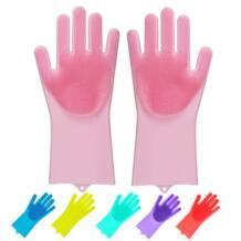 Волшебные силиконовые перчатки для мытья посуды, многоразовые чистящие кисти термостойкие скраб резиновые перчатки для мытья посуды No name 32954272021