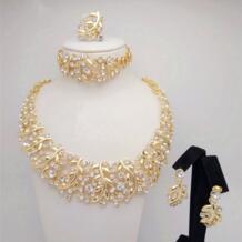 Позолоченный 18к золотом комплект украшений, ожерелье, серьги, кольцо, браслет в африканском стиле Kingdom Ma 32370040790