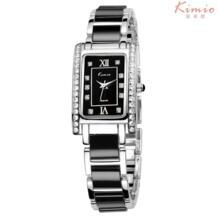 Модный Бренд платье Для женщин часы-браслет для алмазной Керамика Нержавеющаясталь прямоугольник кварцевые часы Relogio feminino Kimio 32655826491