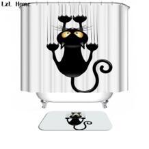 LzL домашняя Ванна шторка для ванной на заказ забавная Рождественская занавеска для душа 3d современная кошка Водонепроницаемая Ткань Ленточные швейные принадлежности LzL Home 32754204682