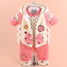 Осенний зимний детский г., комплект из 3 шт. для маленьких девочек и мальчиков, 2018, милый утепленный жилет, пальто + Топы + штаны, Одежда для новорожденных, G680 MCDONDON 32691021767