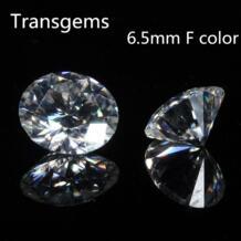 TransGem 6,5 мм 1ct карат F бесцветный круглой бриллиантовой огранки Moissanite Свободные лаборатории Драгоценный Алмаз Тест как положительный 1 шт. No name 32651903013
