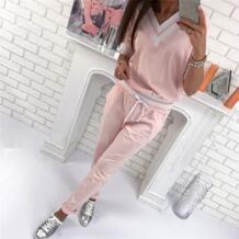 Розовый костюм для Для женщин спортивные Костюмы Толстовка +штаны, 2 предмета Комплект Для женщин Cappa для бега Костюмы дамы Костюмы 2017 HimanJie 32833567583
