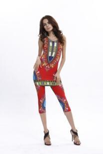 Лидер продаж Новые Модные женские летние геометрический Этническая Африканский Тотем печати удобные эластичные Жилет + Штаны костюм 6 цветов No name 32491949481