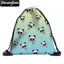 Симпатичный мешочек на шнурке 3D печать эмодзи панда для девочек обувь в школе 37452 deanfun 32877911385