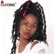 крючком волосы косы 12/18 дюймов Faux Locs Curly синтетические волосы предварительно оплетенные волосы кроше для наращивания богиня Nu Locs коричневый черный leeons 32956877610