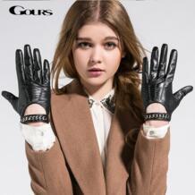 Женские перчатки , черные перчатки из натуральной козьей кожи, для вождения, GSL008, весна-зима 2019 GOURS 2028262629