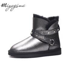 Новые модные женские зимние ботинки наивысшего качества из натуральной овечьей кожи, зимние ботинки из натуральной шерсти, Botas Mujer, Теплые ботильоны с натуральным мехом MIYAGINA 32740706223