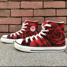 Вэнь оригинальный Дизайн пользовательские обувь Ручная роспись кроссовки Роуз все красный цветок Для женщин высокие холщовые кроссовки для подарков No name 32664328693