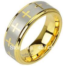 Бесплатная доставка США хит продаж 8 мм вольфрамовый Карбид желтого золота Цвет лазерная гравировка кресты дизайн мужские/женские обручальное кольцо No name 1345936798