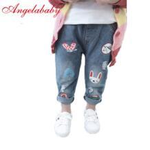 Милые джинсы с рисунком для девочек, осень 2019, Детские повседневные брюки, детские штаны с эластичной резинкой на талии AiLe Rabbit 32871938472