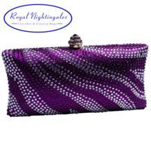 Оптовая продажа с фабрики фиолетовый женская вечерняя сумочка; BS010 с Украшенные стразами клатч кошелек Royal Nightingales 32741300118
