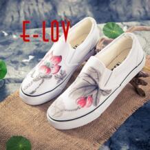 E-лов китайской живописи унисекс конструкции ручная роспись парусиновая обувь персонализированные Для мужчин взрослых повседневная обувь специально обувь на платформе E-LOV 32796221343