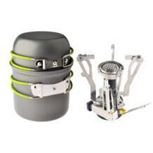 Уличная походная пикник посуда для приготовления пищи набор инструментов кастрюля + пьезозажигание горелка Туристическая посуда E-SHOW 32792469078