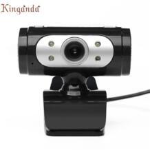 Веб-камера 4 светодиодный USB 2.0 HD Камера веб-С микрофоном для портативных ПК Камара веб-доставка 17aug11 Kinganda 32828259538