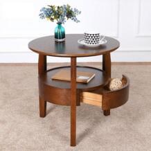 Журнальный столик маленький круглый стол деревянный гостиная простой диван боковой стол с ящиком чайный стол Warmfeel 32814695209