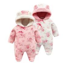 Зимний теплый коралловый флисовый комбинезон для новорожденных девочек, одежда с капюшоном, рождественские костюмы с цветочным принтом для девочек LILIGIRL 32902626718