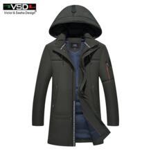 VSD новый 90% белая утка Пух качество красивый теплые длинные модные пальто зимняя куртка Мужская одежда Повседневное пальто Для мужчин парка VS001 Victor&Sasha Design 32836108906