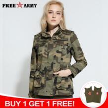 Высокое качество Камуфляж для женщин тактическая куртка милитари Пальто Повседневное курточка бомбер зеленый дизайнерский бренд Free Army 32705992669