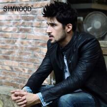 Simwood 2018 Новое поступление известный бренд зимние мотоциклетные Кожаные куртки тонкий Для мужчин Кожаная куртка-бомбер Байкер PU пальто p1019 No name 32490339706