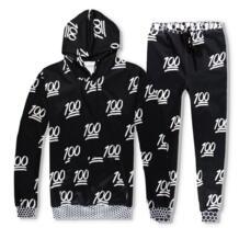 Хит продаж, 2 шт. комплект для мужчин и женщин повседневные спортивные костюмы 3D печати 100 точки emoji модные толстовки с капюшоном + Штаны Толстовка спортивный костюм Devin Du 32847720184