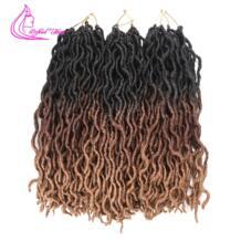 Утонченные волосы Ombre Faux Locs кудряшки Goddess Locs синтетические мягкие косички для вязания крючком дреды плетение волос для наращивания Refined Hair 32965140481