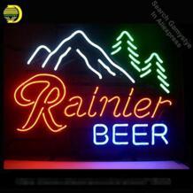 Ренье пива неоновый свет знак неоновых ламп знак неоновая вывеска реального Стекло трубка для Бар Паб Hotel Свадебная вечеринка ручной работы 17x14 cm No name 32867696492