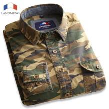 Lang мужская g 100% хлопковая камуфляжная рубашка Мужская дышащая армейская Повседневная рубашка верхняя одежда военный Камуфляжный костюм Meisai Мужская рубашка s LANGMENG 32396937790