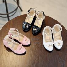 2019 осень/весна модель мода бант дети девочка лакированная кожа на низком каблуке обувь с бисером детская танцевальная принцесса симпатичная обувь MXHY 32857243055