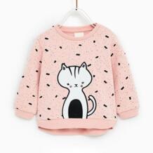 Новинка 2019 года, свитшоты для маленьких девочек, зима-весна-осень, Детский свитер с длинными рукавами и рисунком кошки, Детская футболка, одежда, топы для детей возрастом от 2 до 7 лет GGBAOFAN 32890181381