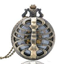 Винтаж стимпанк позвоночника ребра Скелет Hollow кварцевые карманные часы для Для мужчин Для женщин Цепочки и ожерелья Подвеска часы подарки Reloj De Bolsillo No name 2044924197