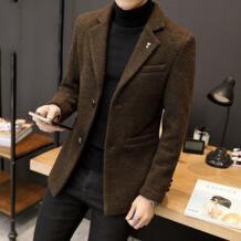 2018 новый стиль для мужчин шерстяное пальто человек мода Зубчатый воротник однобортный шерстяной Тренч мужской тонкий верхняя одежда Groundnut 32862422852