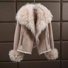 Роскошная теплая шуба из натуральной овчины из натурального меха ягненка, замшевая куртка, Толстая Шуба для женщин, большие размеры 180423-1 No name 1394514198