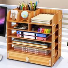 DIY многослойная рабочего Коробка для хранения документов книги полки простой отделка стойки Desktop книжная полка офиса No name 32863565973