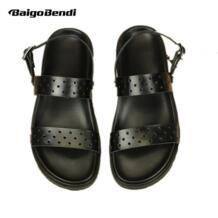 Мужские сандалии с вырезами из натуральной кожи, с ремешком на щиколотке, большие размеры США 11, 12, 13, Повседневная летняя пляжная обувь с ремешками No name 32685482033