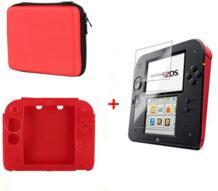 Красный Силиконовый чехол сумка + защитить сенсорный Плёнки Экран гвардии + красный eva протектор трудный Путешествия Чехол сумка для Nintend 2ds PROJECT DESIGN 32857414916