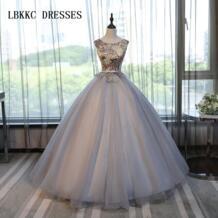 Серое Пышное Платье принцессы из тюля с кружевом, бальное платье, маскарадное платье для девочек, 16 платьев, бальное платье, Vestidos De 15 Anos LBKKC DRESSES 32858010702