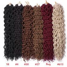 18 дюймов Faux Locs вьющиеся плетеные пряди 24 пряди богиня Locs накладные волосы Омбре синтетические плетеные волосы богемные замки TOMO 32952427528