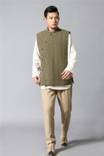 Китайский стиль старинные чистый лен Для мужчин жилет осень-зима хлопковой подкладкой жилеты 2 цвета 3 размера No name 32508881108