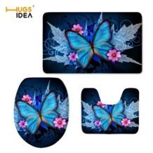 HUGSIDEA 3D милые животные Синий с принтом бабочки Туалет чехлы коврик 3 шт. комплект теплые мягкие Ванная комната Ковер Набор аксессуаров для туалета No name 32802097502