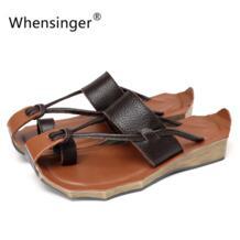 Whensinger-2018 женские босоножки Обувь из натуральной кожи ручной работы модные Сланцы 8125 No name 32270420823