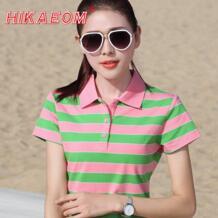 2018 Летние повседневные женские рубашки-поло из хлопка, повседневная полосатая рубашка поло с коротким рукавом, тонкий дышащий фитнес-топ Femme HIKAEOM 32874282697