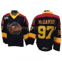 Эри выдры майки для хоккея дешевые Эдмонтон 97 Коннор McDavid футболка для колледжа премьер OHL с COA черный желтый цвет ediwallen 32859322856
