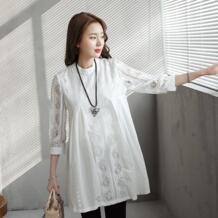 Плюс Размеры белые длинные топы для беременных Для женщин 3 четверти рукав блузка рубашка для беременных однотонные Блузы сезон: весна–лето одежда M-2XL No name 32793809992