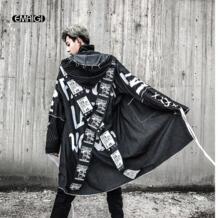 Мужские пальто с перекрестной лентой, уличная мода, с принтом, хип-хоп, в стиле панк, длинный Тренч с капюшоном, куртка, мужское Свободное пальто EMAIGI 32841953875